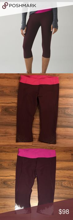 Lululemon Bordeaux Tight Stuff Crop Sz 10 Bordeaux drama tight stuff crop: Luxtreme fabric  = sweat wicking, four way stretch; secure pocket on waistband; refelective details; high rise, compression/tight fit. EXCELLENT, LIKE NEW, BARELY WORN, condition.   Pls checkout my other items. Smoke free very clean home. Thx for looking... lululemon athletica Pants Leggings