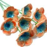 Tangerine and turquoise ceramic flowers