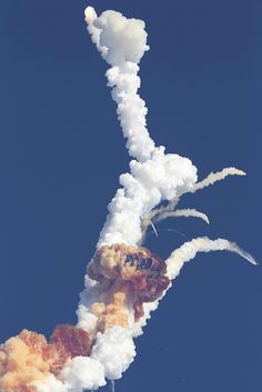 """We all remember this sight.  Space Shuttle """"Challenger""""  explosion on Take Off.... January 28, 1986."""