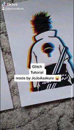 Sasuke Drawing, Naruto Sketch Drawing, Anime Sketch, Naruto Drawings Easy, Naruto Painting, Glitch Art, Glitch Effect, Anime Crafts, Anime Character Drawing
