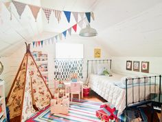 A touch of cornflower in the pennant flags >> http://www.hgtvremodels.com/interiors/7-bright-white-kids-rooms/pictures/index.html