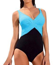 Upopby Women's Tummy Control One Piece Plus Size Swimsuits Monokinis Swimwear Blue 4XL