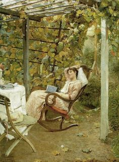 ✉ Biblio Beauties ✉ paintings of women reading letters & books - Oscar Bluhm | In the Pergola, 1892