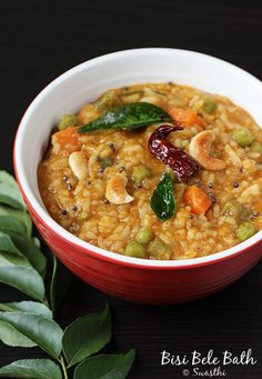 Bisi bele bath recipe - one of our favorites at home. Aroma of dal and rice cooked in freshly ground bisibelebath powder, then seasoned with ghee is great Bath Recipes, Veg Recipes, Indian Food Recipes, Cooking Recipes, Ethnic Recipes, Recipies, South Indian Vegetarian Recipes, Paneer Recipes, Healthy Recipes