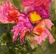 Tableau à l'encre sur papiers froissés 'Fleur au coeur jaune ' : Peintures par creazart