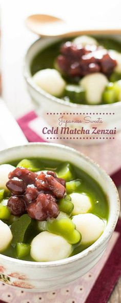 Cold Matcha Zenzai is the perfect Japanese dessert! Chilled matcha jelly is topped with sweet azuki beans, mochi, and matcha syrup! It's so delicious! Asian Desserts, Asian Recipes, Sweet Recipes, Sushi Recipes, Alcoholic Desserts, Green Tea Dessert, Matcha Dessert, Delicious Desserts, Yummy Food