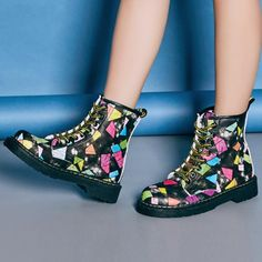 Graffiti Colorful Cute Stripe Flat Lace Up Ankle Martin Boots - Gchoic.com#shoes #women #popular #fashion #discount #cheap #want Pinterest