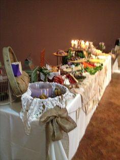 Vintage wedding shower food table decor