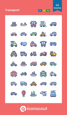 Outline Illustration, Png Icons, Icon Pack, Icon Font, Icon Design, Transportation, Packing, Dots, Social Media