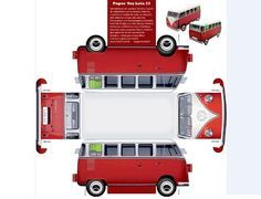 VW Kombi Paper Model - by Lola 33 - via Cogumelo Louco -- An easy-to-build Classic VW Kombi with realistic textures, created by Brazilian website Lola 33 and posted at Cogumelo Louco website.