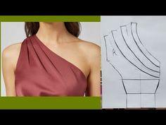 One shoulder bodice drape/ pleats/fullness/gathers Tutorial Dress Sewing Patterns, Blouse Patterns, Clothing Patterns, Skirt Patterns, Coat Patterns, Blouse Sewing Pattern, Drape Skirt Pattern, Bodice Pattern, Collar Pattern