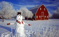 Red barn and snowman , Grande Pointe, Manitoba, Canada