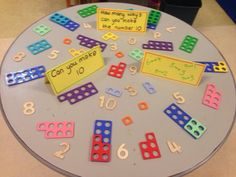 Number bonds to 10 challenge. My children love numicon! Maths Eyfs, Math Classroom, Kindergarten Math, Teaching Math, Primary Teaching, Guided Maths, Classroom Displays, Teaching Ideas, Preschool