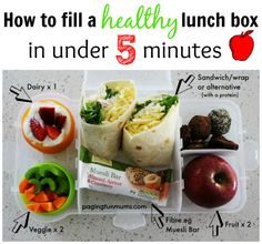 How to fill a healthy lunch box in under 5 minutes (that kids can even make)! This pin will save your hours in the kitchen!