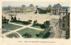 Une belle perspective de la place du Carrousel en direction du Louvre, vers 1900 (Paris 1er)