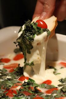 Caprese dip [fresh basil, roma tomatoes, and fresh mozzarella]...YUM!