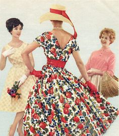 Feminine 50's full skirted silhouette complete with gloves and straw hat-Don't you just love the artwork showing the other ladiies' reactions!?