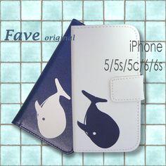 iPhoneオリジナルプリント手帳型スマホケース(くじら)