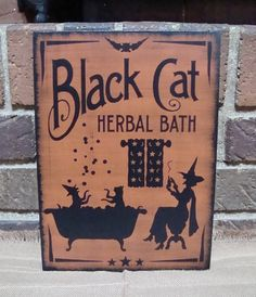 Primitive Halloween Witch Sign Black Cat Herbal by witchescauldron, $24.99