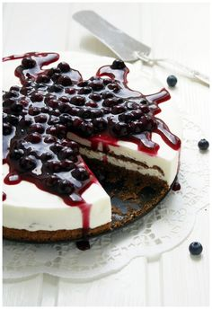 Yoghurt Cake, Elderflower Syrup, Blueberry Compote.