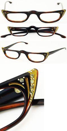 Eyeglasses 175805: New Authentic Vintage Plastic Art Craft Eyeglasses Crystals Cat Eye Shape -> BUY IT NOW ONLY: $139 on eBay!