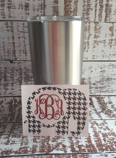 Yeti Tumbler Alabama Elephant Monogram Decal