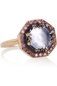 Larkspur & Hawk | Mary rose gold, topaz and diamond ring | NET-A-PORTER.COM $2200