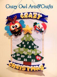 Calendario del adviento de Natal Crazy Owl - hecho a mano en fieltro/ Christmas advent calendar Crazy Owl - handmade in felt/ Calendario do advento de Natal - feito à mao em feltro