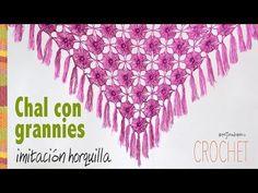 Chal (shawl) de granny imitación horquilla tejido a crochet - Tejiendo Perú! - YouTube