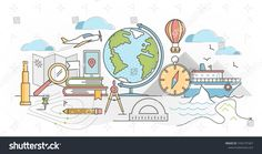 Geography outline concept vector illustration Atlas earth study and environment research Topography science and k Vector illustration Illustration Vector art