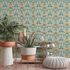 Floral Pattern Removable Wallpaper, Plant Wall Decor, Vintage Style Hearts Wall Cling, Kitchen Peel and Stick, Pretty Botanical Wall Mural - Smooth Wall Decal / 1 roll: 24W x 132H