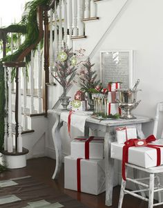 white + red wrapping + decorations