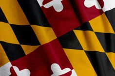 Heraldic banner of George Calvert, 1st Baron Baltimore, the only state flag to be based on English heraldry. ...remember black and gold on top by the pole!
