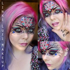 Artistic and colorful heart themed masquerade makeup mask accented with crystals,  by Linki Lutz Makeup.