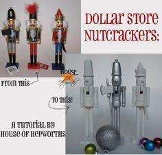 Make West Elm Inspired novelty nutcrackers using Dollar Store nutcrackers. @Allison House! of Hepworths