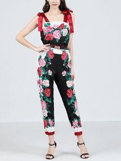 Women's Jumpsuit Rose Print Vintage Rompers – Jolly Vintage Jumpsuits For Women, Floral Prints, Summer Jumpsuit, Bodysuit, Rompers, Men's Apparel, Vintage Jumpsuit, High Point, Rose