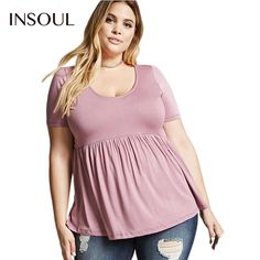 INSOUL Plus Size 2017 New Women Clothing New Fashion Casual A-line T-shirt Solid Color Pleated Shirt Big Size 3XL 4XL 5XL 6XL #Affiliate