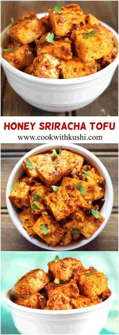 Honey Sriracha Tofu is a sweet and spicy, super delicious appetizer and a perfect family-friendly recipe to make for dinner or any type of gathering. Easy Asian Recipes, Tofu Recipes, Vegetarian Recipes, Healthy Recipes, Sriracha Recipes, Vegetarian Cookbook, Healthy Food, Spicy Appetizers, Appetizer Recipes