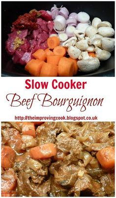The Improving Cook: Slow Cooker Beef Bourguignon recipe. This slow cooker recipe is great for batch cooking freezer meals Slow Cooked Meals, Slow Cooker Beef, Slow Cooker Recipes, Crockpot Recipes, Cooking Recipes, Healthy Recipes, Healthy Food, Dinner Healthy, Slower Cooker