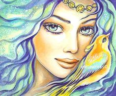 Angel Blue Light Healing Art Bird Fantasy Girl Face - Bird of Secrets - Art Print 9.5x13. $16.00, via Etsy.