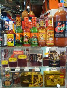 A typical hot sauce selection in Spain