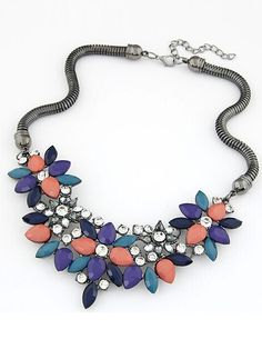 6$  Watch here - http://divsb.justgood.pw/go.php?t=1318 - Multicolor Gemstone Flower Shaped Necklace 6$