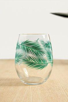 Palm Leaf Stemless Wine Glass