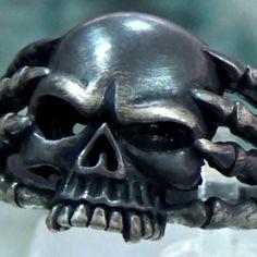 http://www.ebay.com/itm/221901910593 Custom Handmade 925 Sterling Silver Mens Skull Ring Biker Masonic Jewelry #SIGNO #BikerMasonic