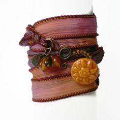 ribbon wrap bracelet, ceramic button clasp, silk ribbon, yoga inspired, beaded charms, purple orange bohemian wrist wrap on Etsy, $30.74
