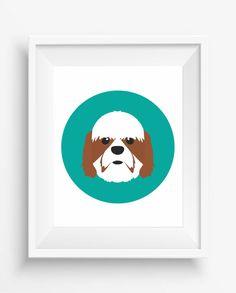 Shih Tzu Print,Shih Tzu Cute Print,Puppy , dog,Puppy watercolor,Pet Decor,digital Prints,instant Download,home decor,