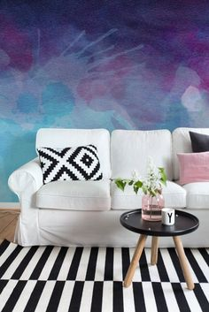 So Purple - Watercolor Mural - Self Adhesive Wallpaper - Removable Wallpaper - Wall Sticker - Colorful Design - Customizable - Watercolor