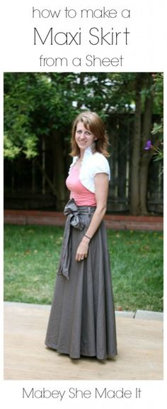 Make a Maxi Skirt from a Sheet | Mabey She Made It #upcycle #sewing #repurpose #maxiskirt #sheet
