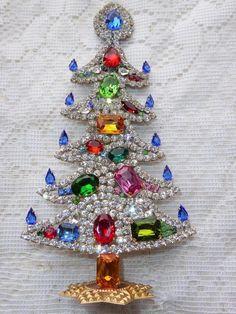 Amazing Vintage Jewelry Czech Rhinestone Christmas Tree Standing   eBay