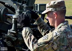 GA Guard #Soldier sets deflection on an M119-A3 #Howitzer during gunnery skills training. Pick up these skills and more. Message us!